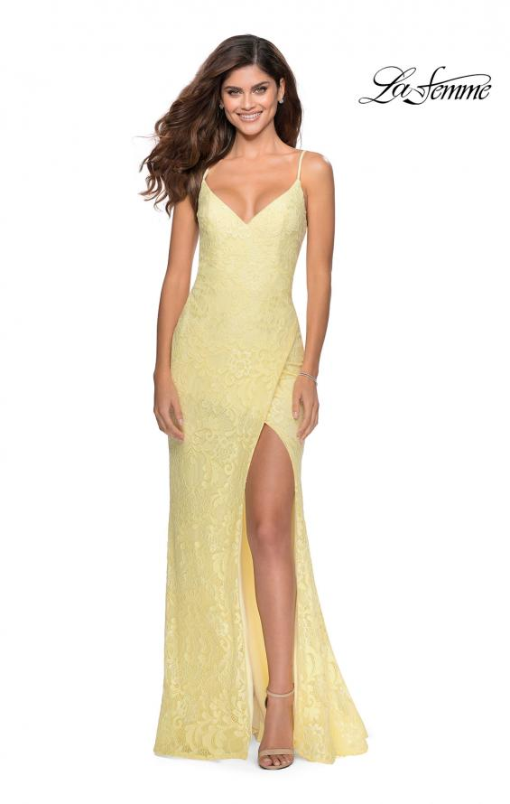Picture of: Lace Prom Gown with Rhinestones and Tie Up Back in Pale Yellow, Style: 28548, Detail Picture 4