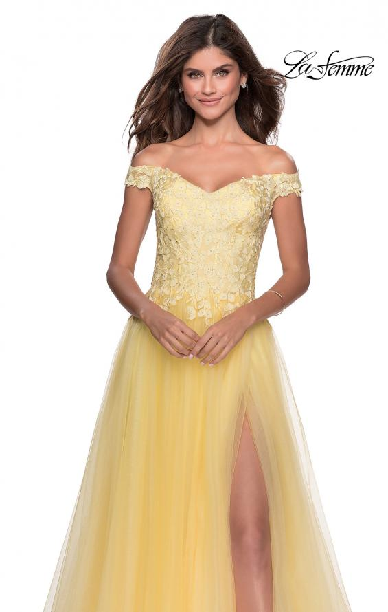 Picture of: Off the Shoulder Tulle Gown with Sheer Floral Bodice in Pale Yellow, Style: 28598, Detail Picture 4