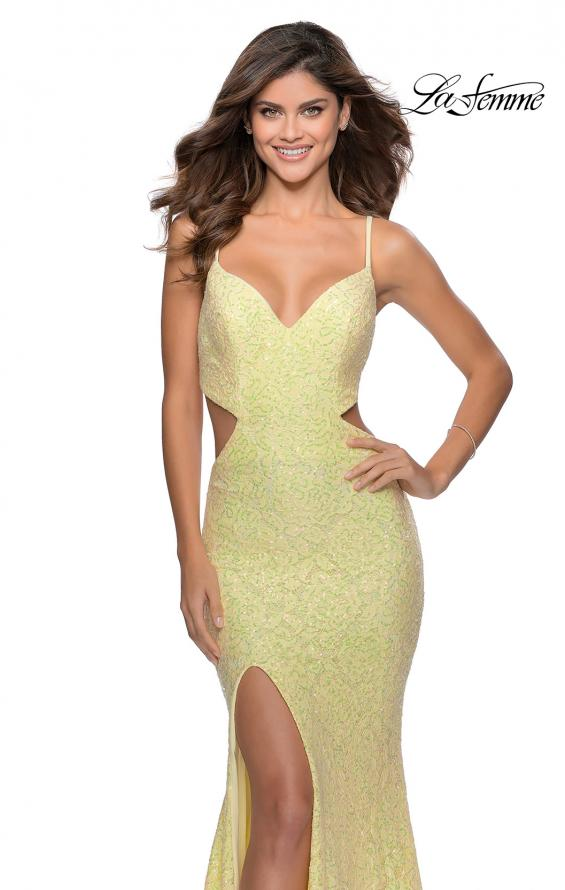 Picture of: Lace Stretch Sequin Dress with Side Cut Outs in Pale Yellow, Style: 28983, Detail Picture 4