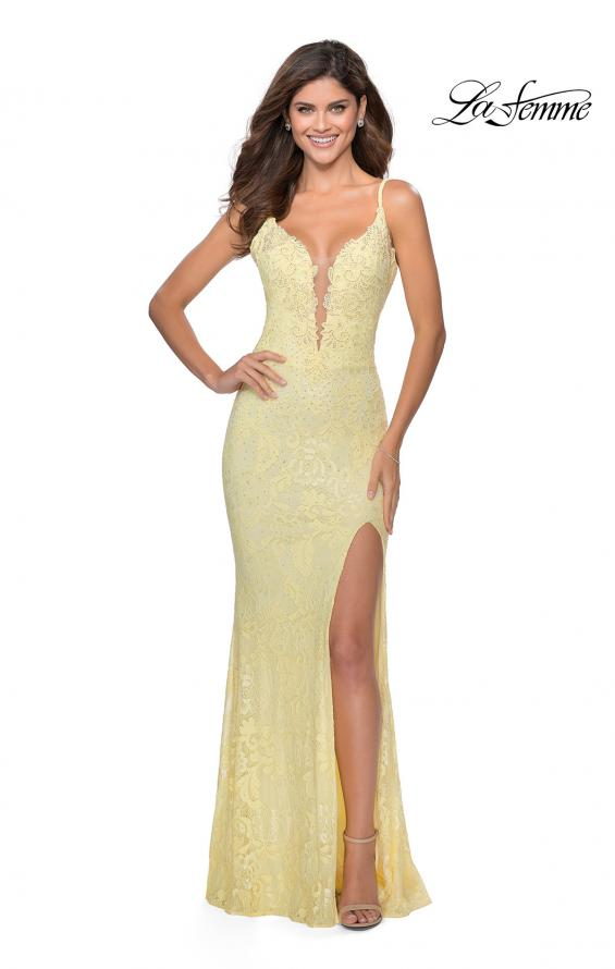 Picture of: Lace Prom Dress with Deep V-Neck and Rhinestones in Pale Yellow, Style: 28556, Detail Picture 5