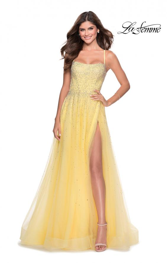Picture of: A-line Tulle Dress with Beaded Bodice and Pockets in Pale Yellow, Style: 28583, Detail Picture 5