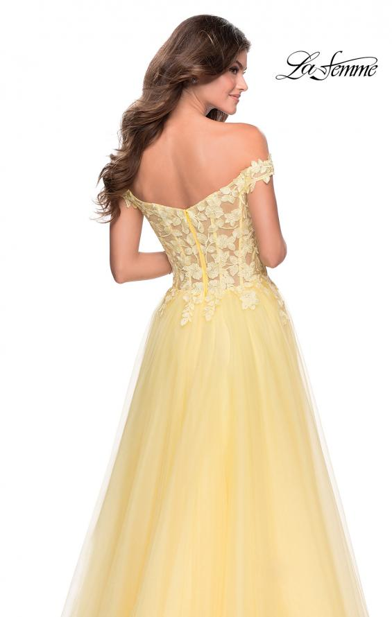 Picture of: Off the Shoulder Tulle Gown with Sheer Floral Bodice in Pale Yellow, Style: 28598, Detail Picture 5