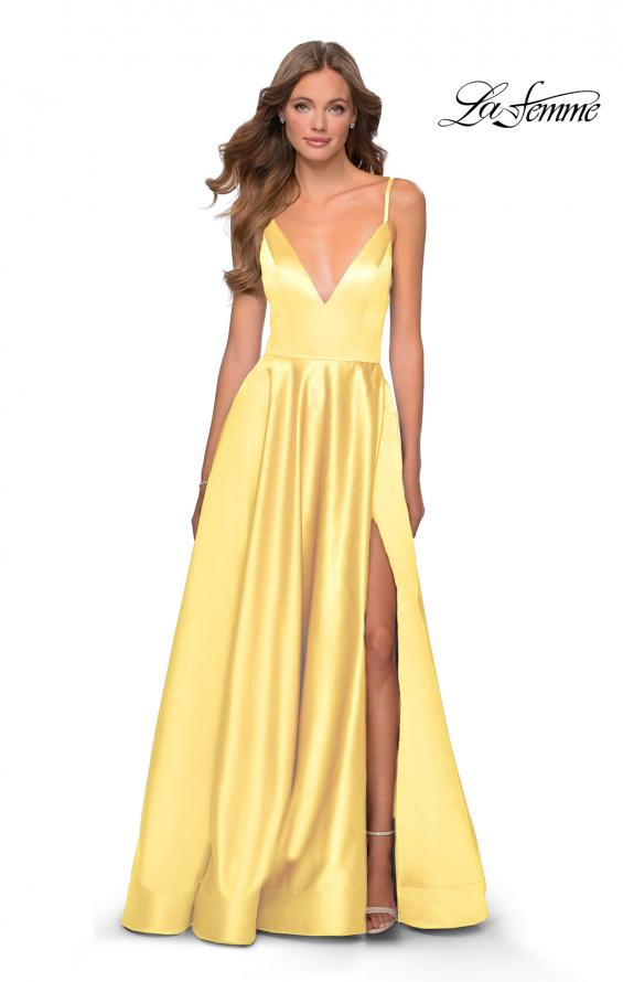 Picture of: V-Neck Satin Prom Dress with Lace Up Back in Pale Yellow, Style: 28628, Detail Picture 5