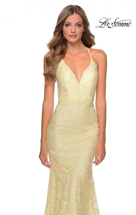 Picture of: Mermaid Prom Dress with Lace and Rhinestones in Pale Yellow, Style: 28643, Detail Picture 5