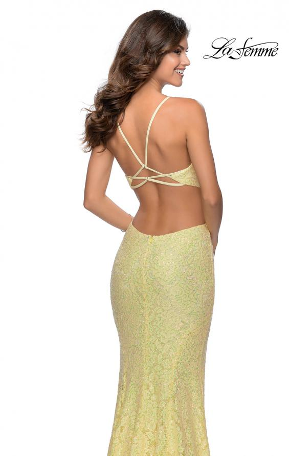 Picture of: Lace Stretch Sequin Dress with Side Cut Outs in Pale Yellow, Style: 28983, Detail Picture 5