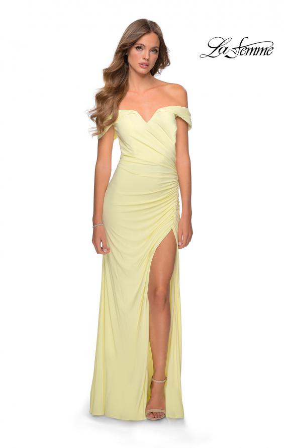 Picture of: Off the Shoulder Fully Ruched Floor Length Gown in Pale Yellow, Style: 28389, Detail Picture 6