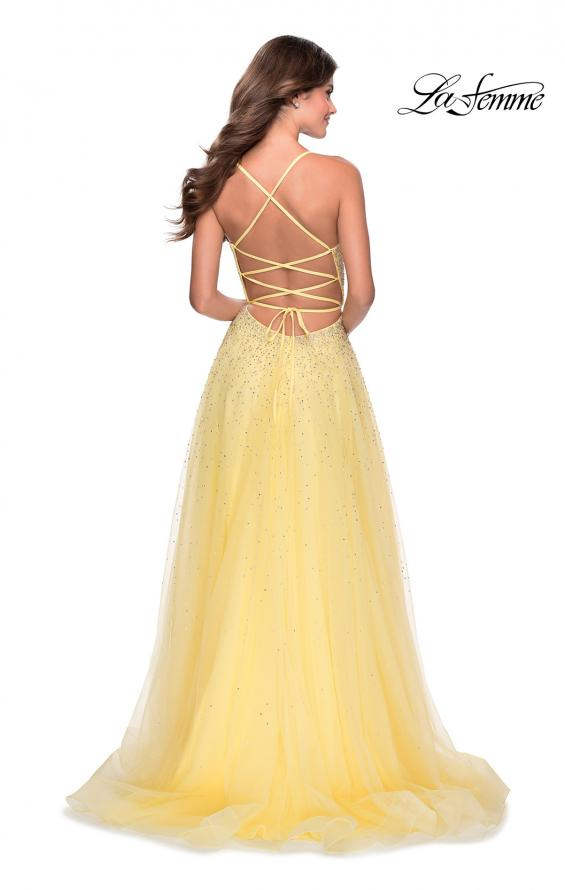 Picture of: A-line Tulle Dress with Beaded Bodice and Pockets in Pale Yellow, Style: 28583, Detail Picture 6