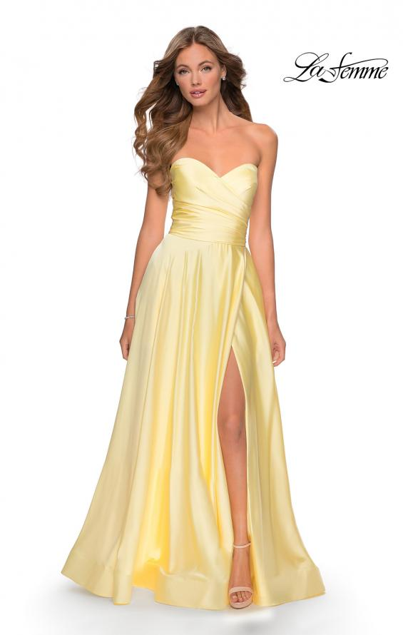 Picture of: Strapless Satin Gown with Pleated Bodice and Slit in Pale Yellow, Style: 28608, Detail Picture 6