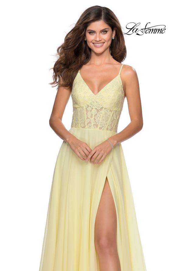 Picture of: Chiffon Prom Dress with Sheer Floral Lace Bodice in Pale Yellow, Style: 28664, Detail Picture 6
