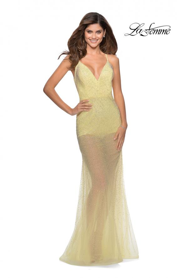 Picture of: Sheer Tulle Rhinestone Dress with Attached Shorts in Pale Yellow, Style: 28806, Detail Picture 6