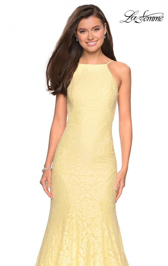 Picture of: Long Lace Prom Dress with High Neckline in Pale Yellow, Style: 27289, Detail Picture 7