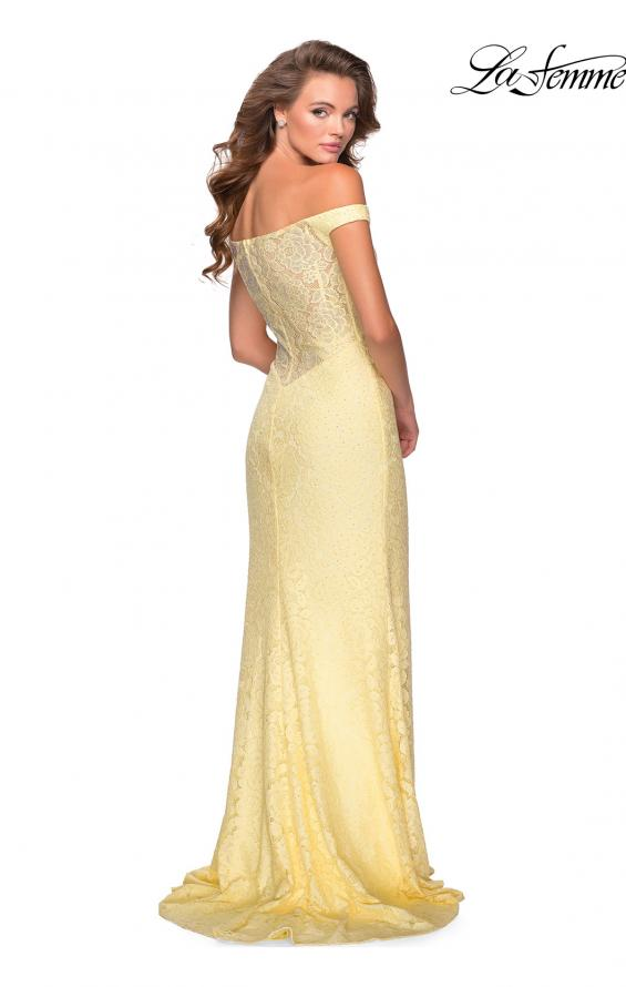 Picture of: Beaded Lace Prom Dress with Off the Shoulder Detail in Pale Yellow, Style: 28301, Detail Picture 7