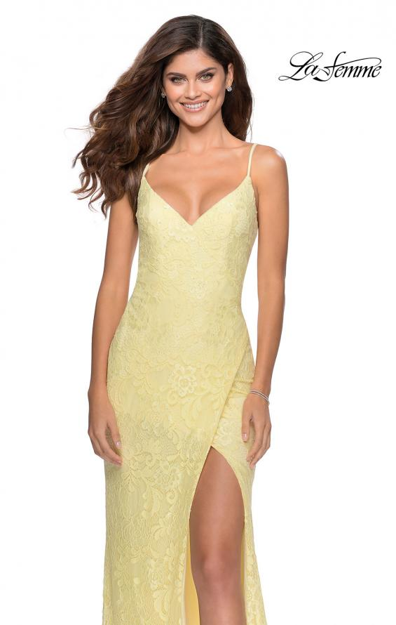 Picture of: Lace Prom Gown with Rhinestones and Tie Up Back in Pale Yellow, Style: 28548, Detail Picture 7