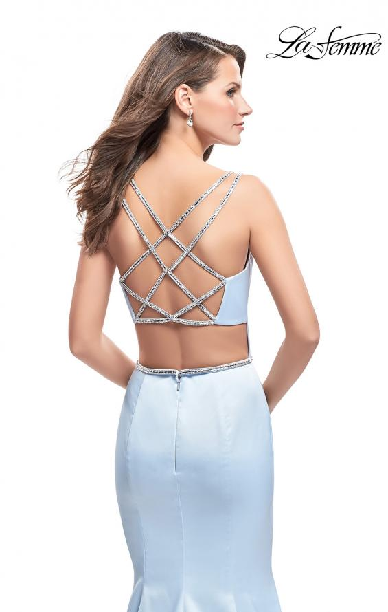 Picture of: Satin Mermaid Prom Dress with Beading and Open Back in Pale Blue, Style: 25711, Back Picture