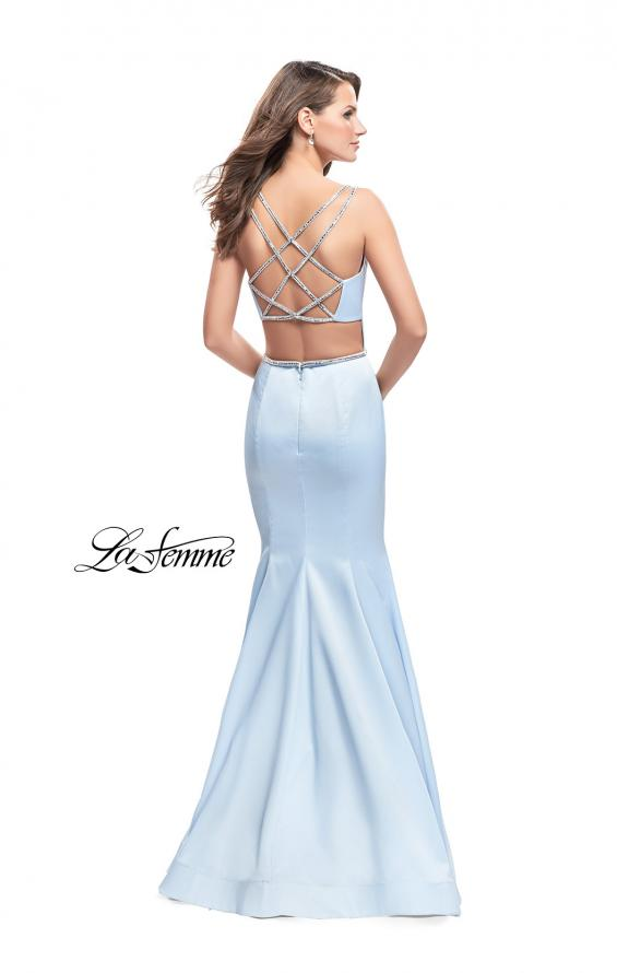 Picture of: Satin Mermaid Prom Dress with Beading and Open Back in Pale Blue, Style: 25711, Detail Picture 3