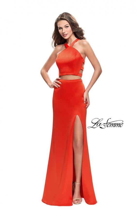 Picture of: Halter Two Piece Satin Prom Dress with Caged Back in Papaya, Style: 26171, Main Picture
