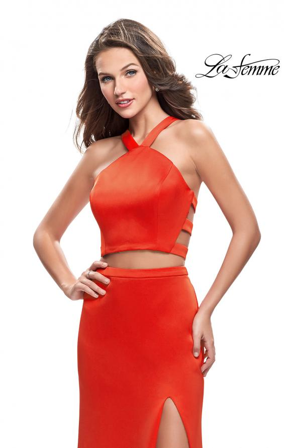 Picture of: Halter Two Piece Satin Prom Dress with Caged Back in Papaya, Style: 26171, Detail Picture 3