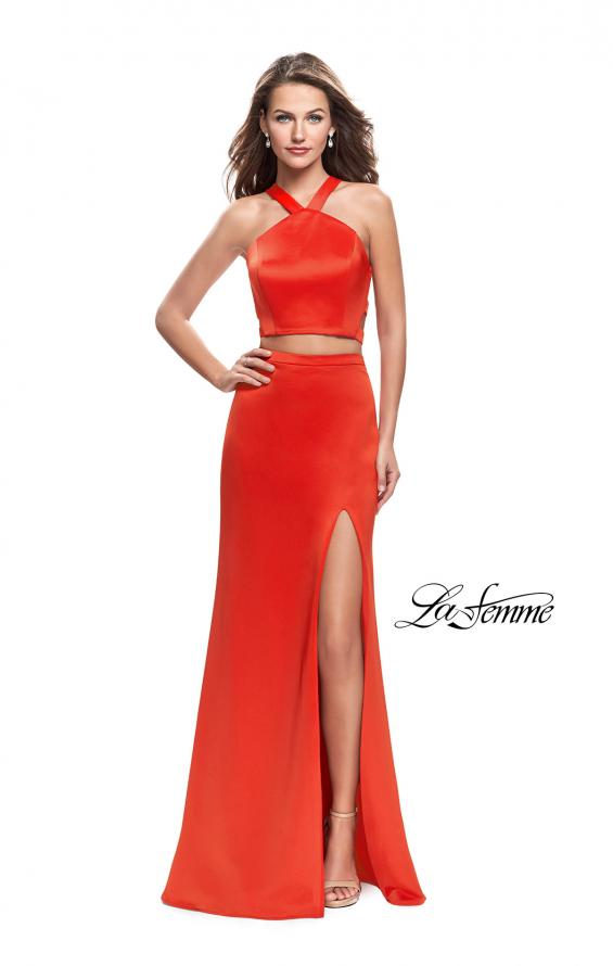 Picture of: Halter Two Piece Satin Prom Dress with Caged Back in Papaya, Style: 26171, Detail Picture 2