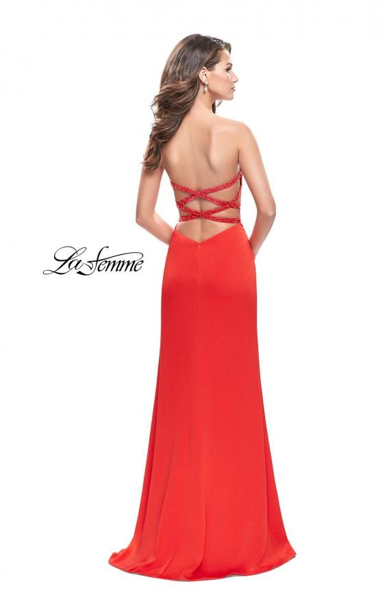 Picture of: Long Strapless Form Fitting Dress with Beaded Straps in Papaya, Style: 26253, Detail Picture 2