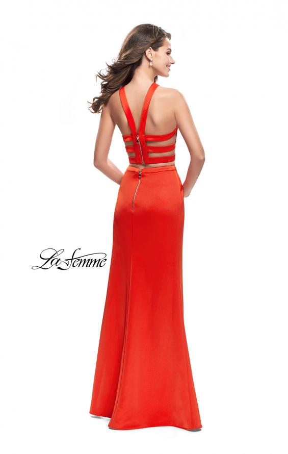 Picture of: Halter Two Piece Satin Prom Dress with Caged Back in Papaya, Style: 26171, Detail Picture 5