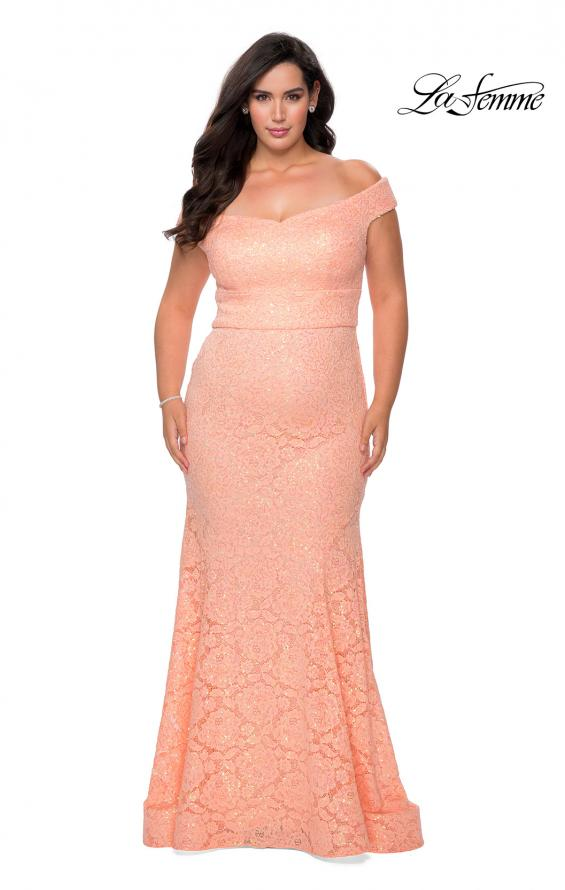Picture of: Off the Shoulder Lace Plus Dress with Defined Waist in Peach, Style: 28883, Detail Picture 4