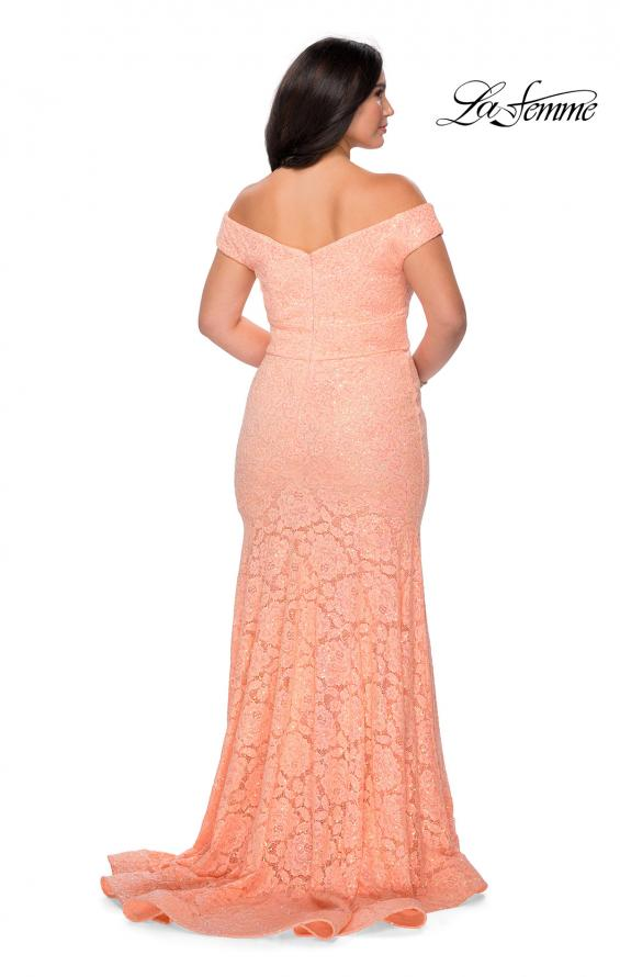 Picture of: Off the Shoulder Lace Plus Dress with Defined Waist in Peach, Style: 28883, Detail Picture 5