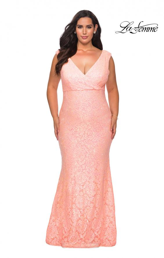 Picture of: Curvy Stretch Lace Dress with V-Neck and Rhinestones in Peach, Style: 28837, Detail Picture 8