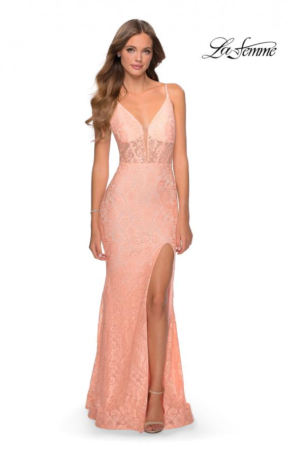 Picture of: Floor Length Lace Prom Dress with Sheer Bodice in Peach, Style: 28591, Detail Picture 9