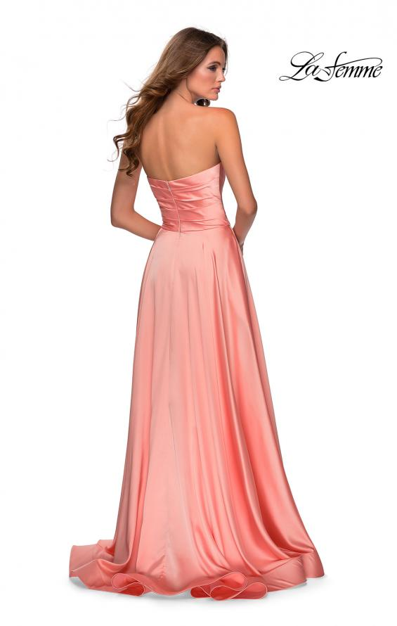 Picture of: Strapless Satin Gown with Pleated Bodice and Slit in Peach, Style: 28608, Back Picture