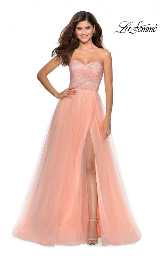 Picture of: Tulle A-line Ball Gown with Net Beaded Bodice in Peach, Style: 28559, Detail Picture 1