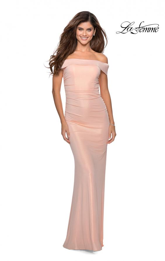 Picture of: Metallic Jersey Long Off the Shoulder Prom Dress in Peach, Style: 28740, Detail Picture 1