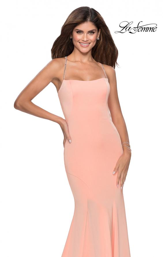 Picture of: Long Jersey Prom Dress with Beaded Strappy Back in Peach, Style: 28526, Detail Picture 2