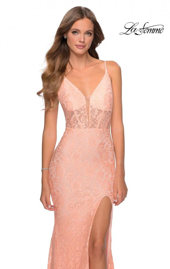 Picture of: Floor Length Lace Prom Dress with Sheer Bodice in Peach, Style: 28591, Detail Picture 2