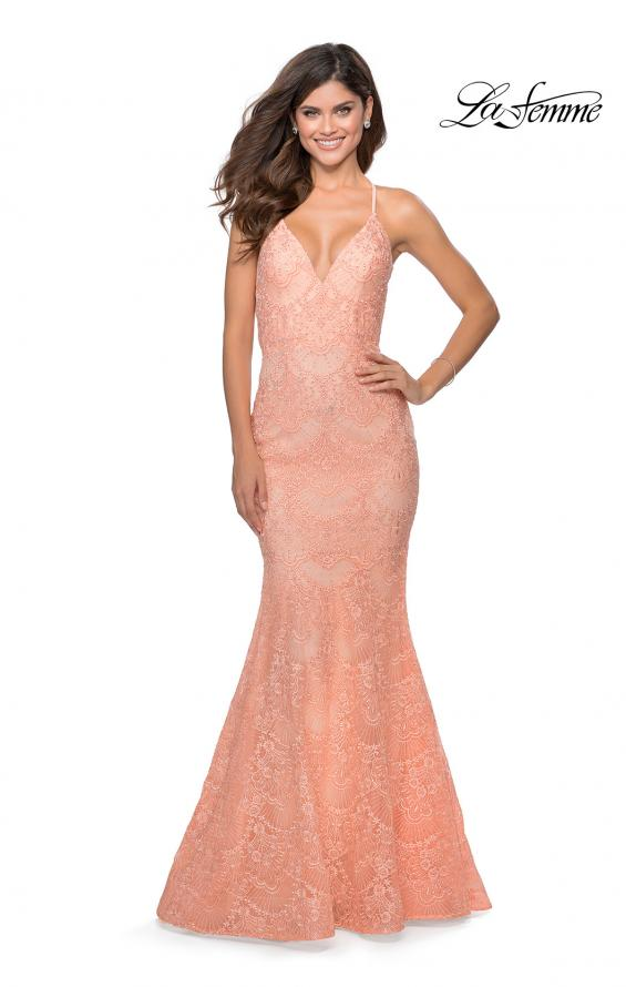 Picture of: Mermaid Prom Dress with Lace and Rhinestones in Peach, Style: 28643, Detail Picture 2