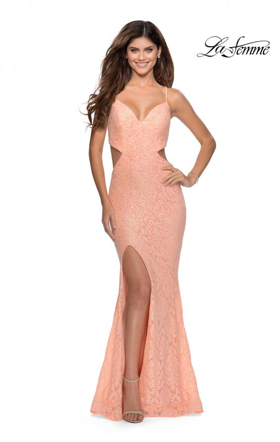 Picture of: Lace Stretch Sequin Dress with Side Cut Outs in Peach, Style: 28983, Detail Picture 3
