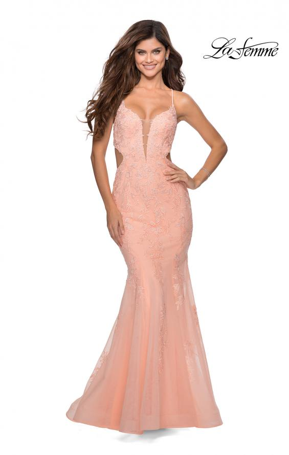 Picture of: Mermaid Tulle Gown with Floral Lace and Rhinestones in Peach, Style: 28768, Detail Picture 5