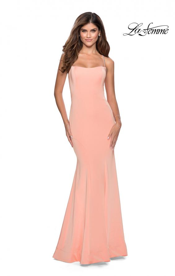 Picture of: Long Jersey Prom Dress with Beaded Strappy Back in Peach, Style: 28526, Detail Picture 7