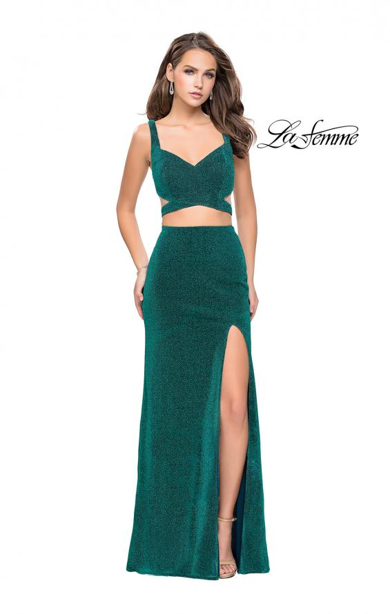 Picture of: Long Jersey Two Piece Prom Dress with Side Cut Outs in Peacock, Style: 25597, Main Picture