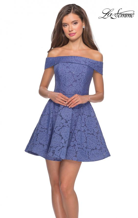 Picture of: Off the Shoulder Lace Fit and Flare Homecoming Dress in Periwinkle, Style: 28122, Main Picture