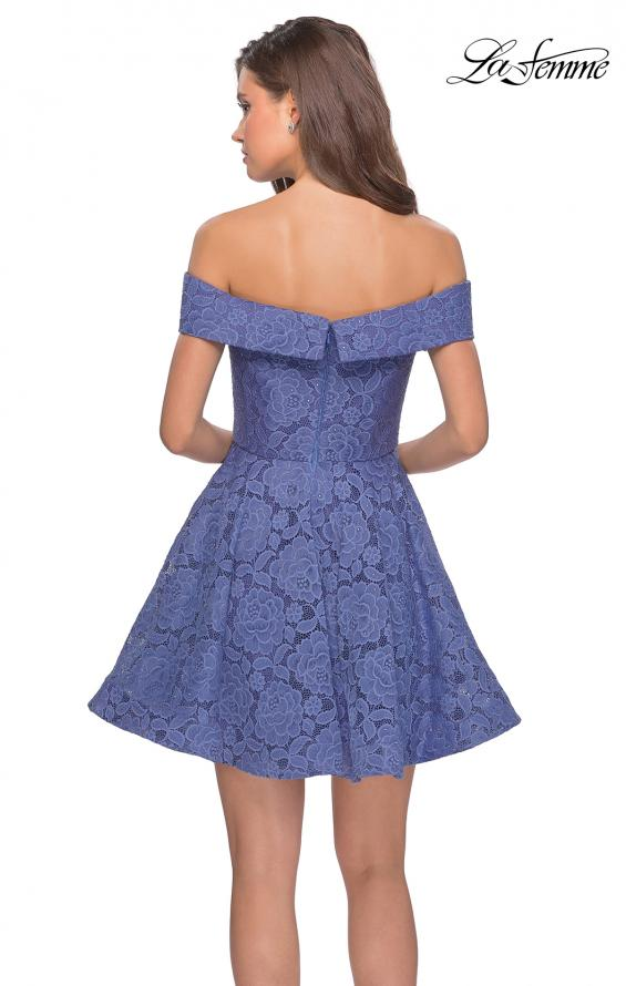 Picture of: Off the Shoulder Lace Fit and Flare Homecoming Dress in Periwinkle, Style: 28122, Back Picture