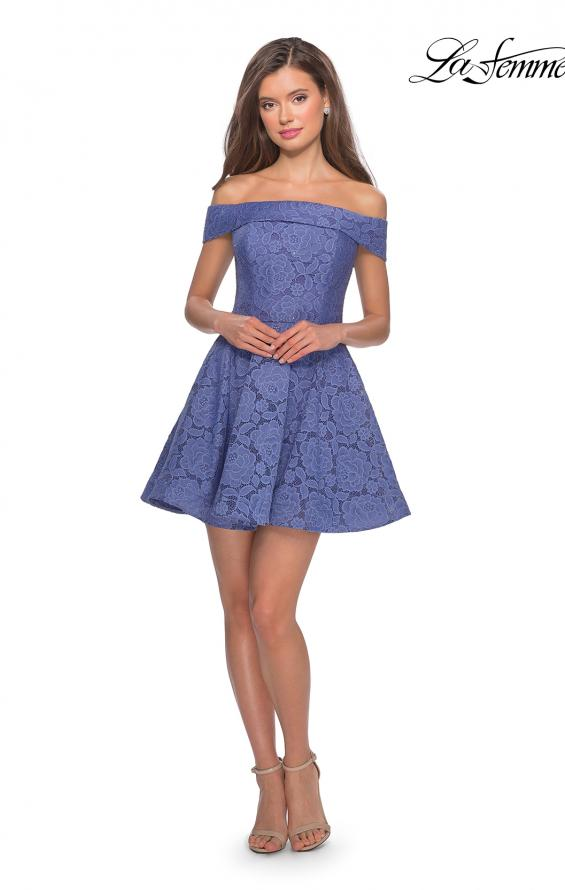 Picture of: Off the Shoulder Lace Fit and Flare Homecoming Dress in Periwinkle, Style: 28122, Detail Picture 3