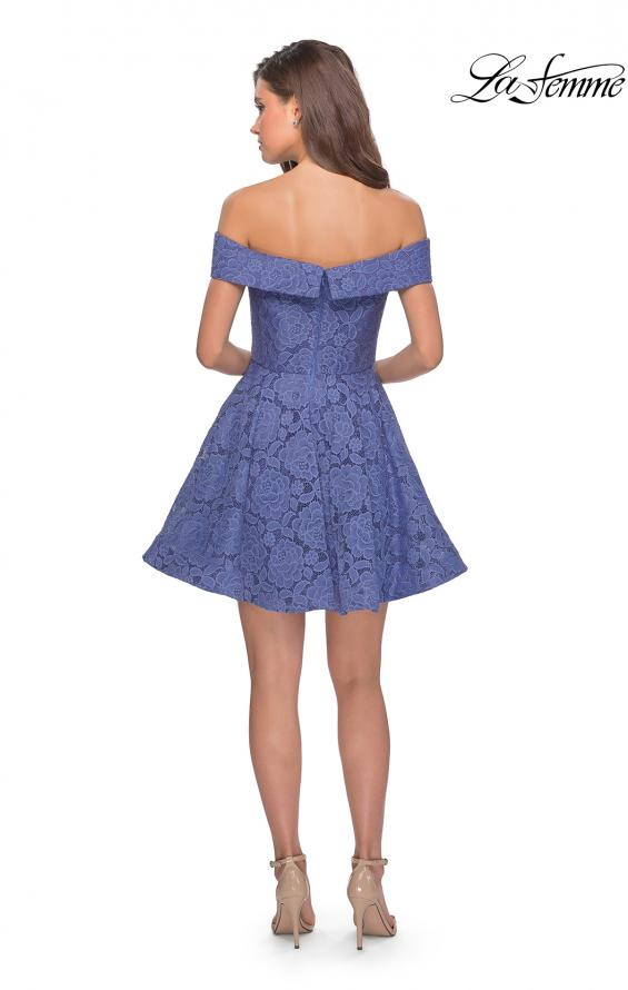 Picture of: Off the Shoulder Lace Fit and Flare Homecoming Dress in Periwinkle, Style: 28122, Detail Picture 4
