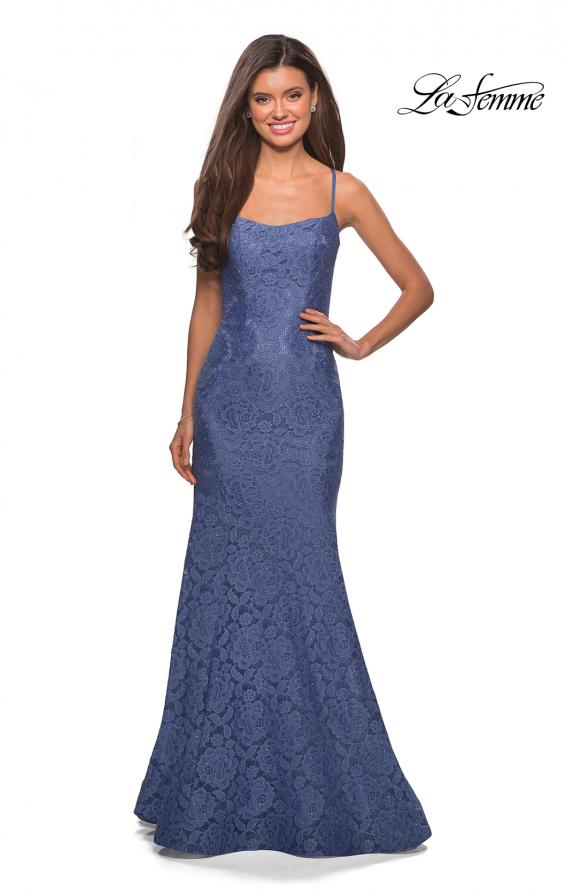 Picture of: Stretch Lace Gown with Square Neckline and Open Back in Periwinkle, Style: 27565, Detail Picture 8