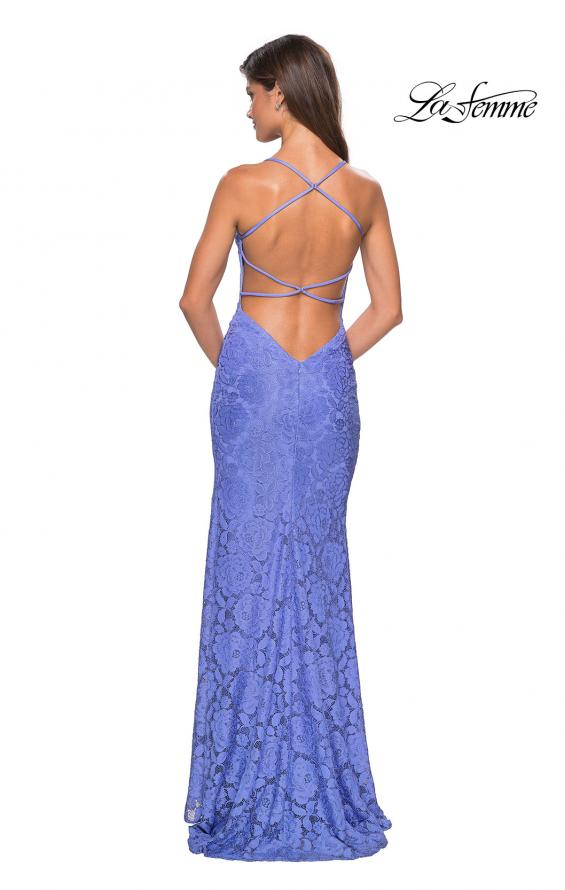 Picture of: Form Fitting Lace Dress with V Neckline and Slit in Periwinkle, Style: 27614, Back Picture
