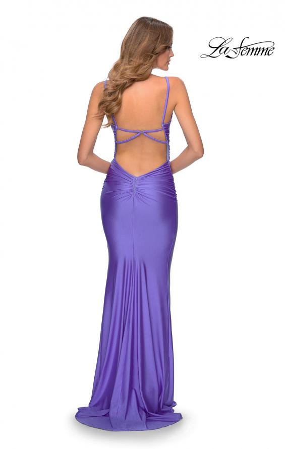 Picture of: Long Ruched Jersey Prom Dress with Thin Straps in Periwinkle, Style: 28398, Back Picture