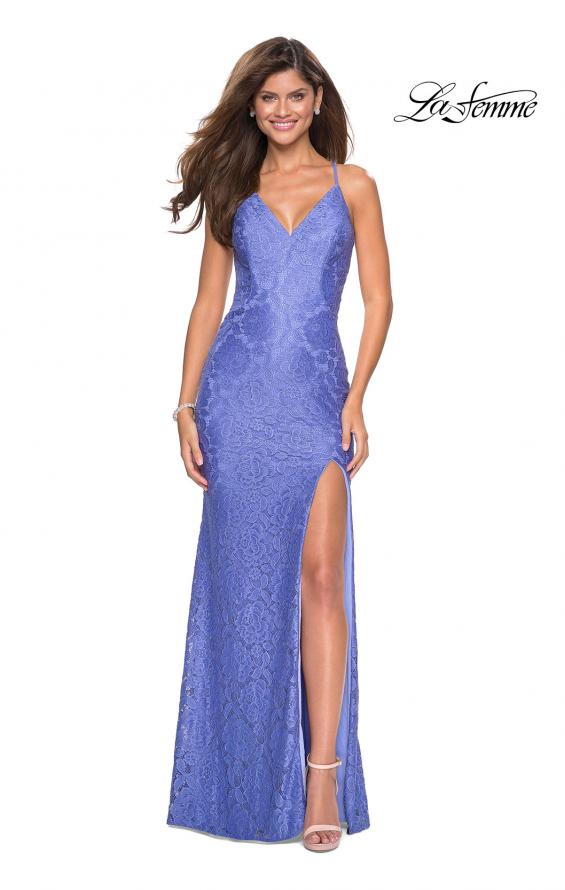 Picture of: Form Fitting Lace Dress with V Neckline and Slit in Periwinkle, Style: 27614, Detail Picture 4