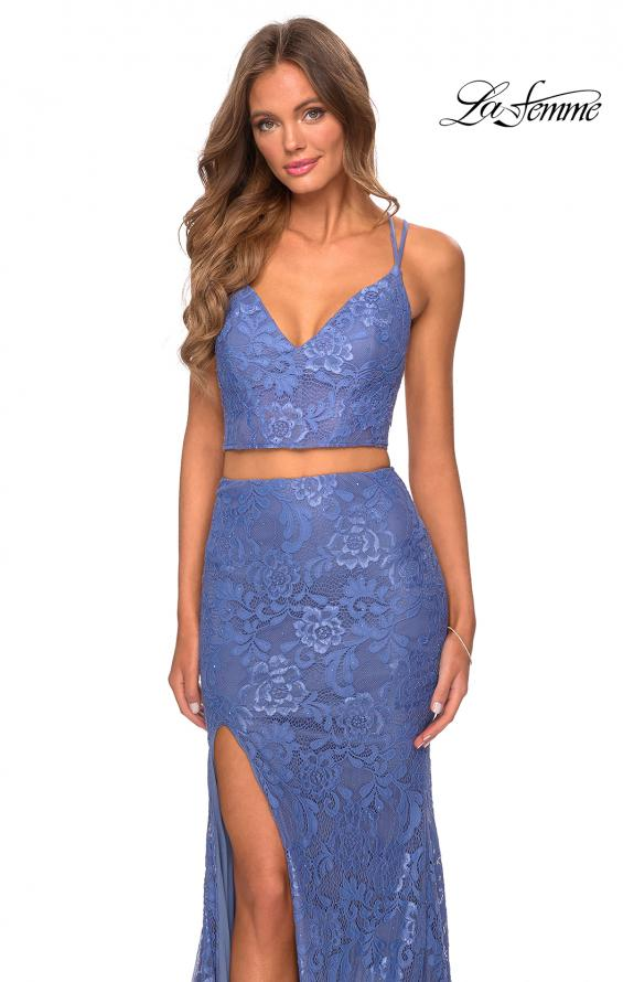 Picture of: Two Piece Lace Dress with Sheer Top and Rhinestones in Periwinkle, Style: 28590, Detail Picture 4