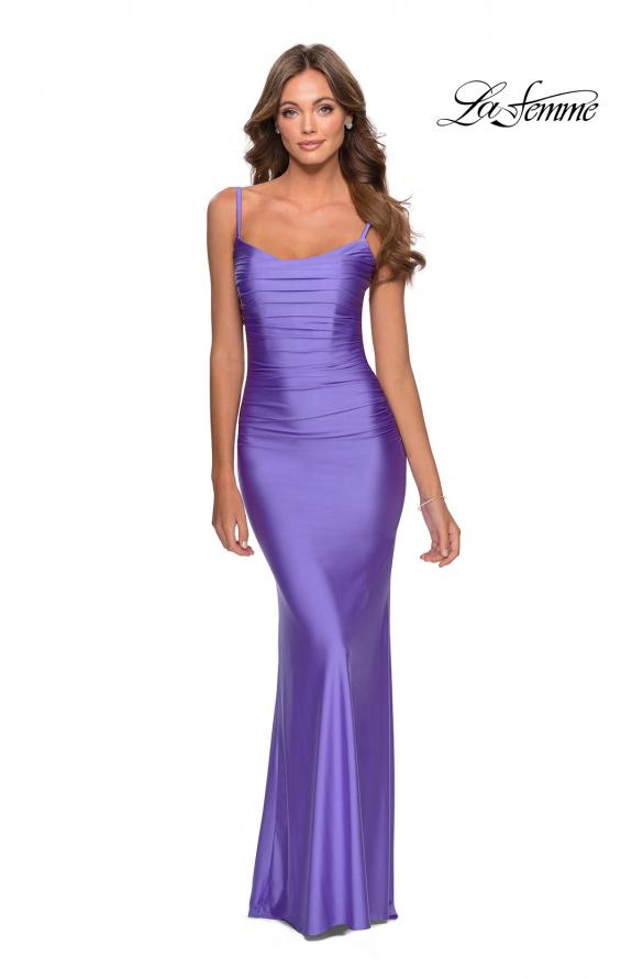 Picture of: Long Ruched Jersey Prom Dress with Thin Straps in Periwinkle, Style: 28398, Detail Picture 5