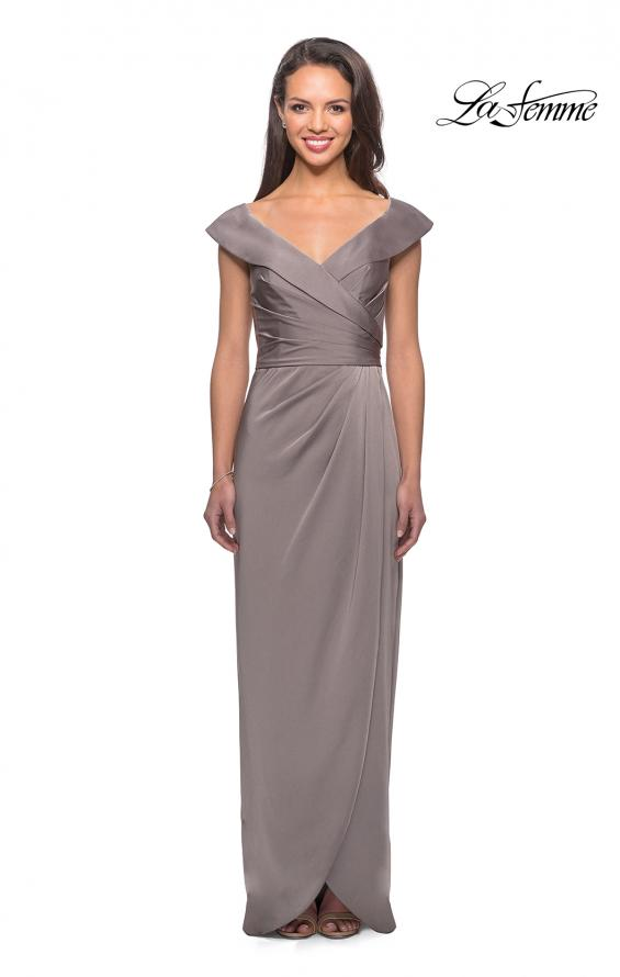 Picture of: Long Jersey Dress with Ruching and Cap Sleeves in Pewter, Style: 25206, Main Picture