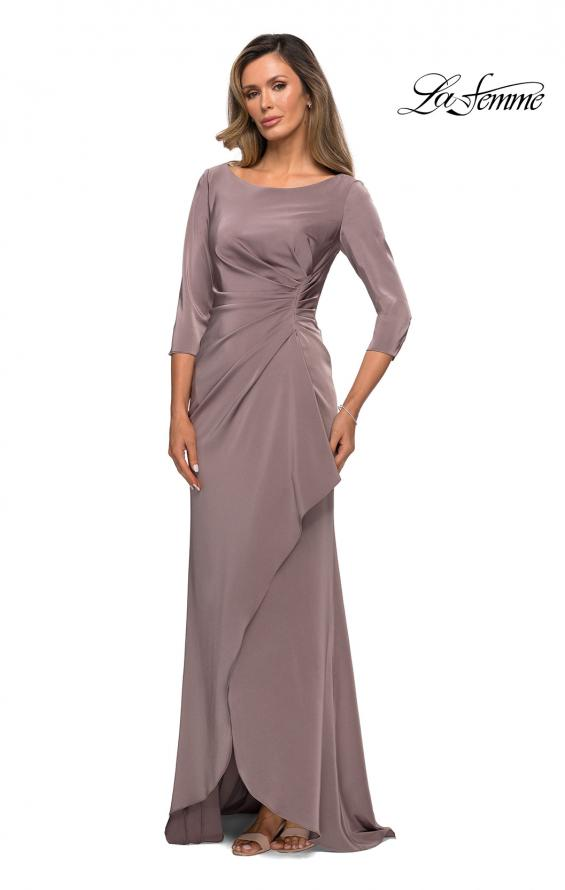 Picture of: Three Quarter Sleeve Jersey Dress with Ruching in Pewter, Style: 28197, Main Picture